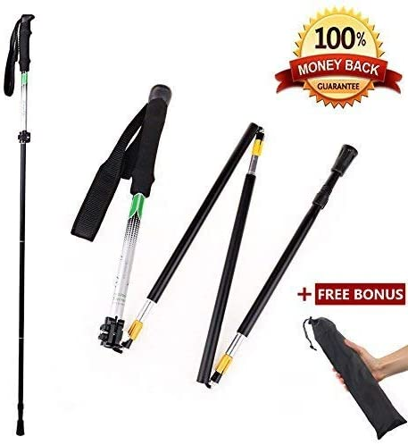 CLINE Travel Folding Trekking Hiking Pole with Carrying Case,Collapsible Cane Adjustable Walking Stick Portable Mobility Aid for Women Men Hikers Gift,Black