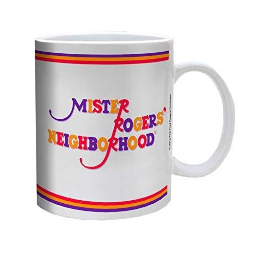 Mister Rogers Neighborhood White Color Ceramic Coffee Mug w/Multi color Logo, Set of 1, 11oz