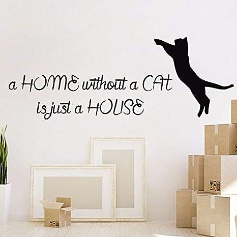 Gato Etiqueta de la pared Cita Etiqueta de vinilo Extraíble Gatos ...