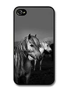AMAF ? Accessories Black & White Hairy Horses case for iPhone 4 4S