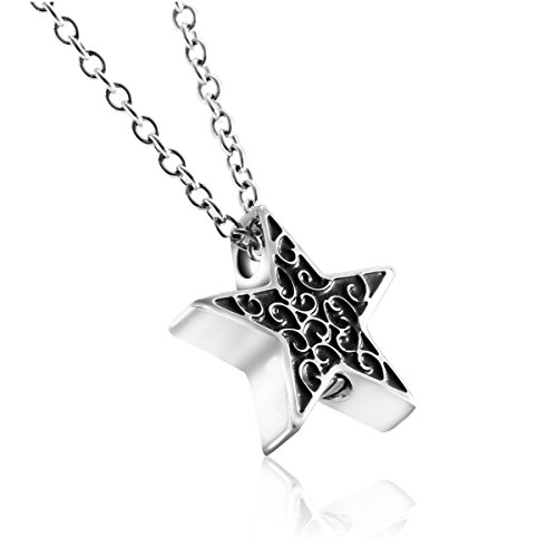 7Morning Star Cremation Jewelry urn necklace for Ashes Pentagram Memorial Pendant Keepsake Necklace ()