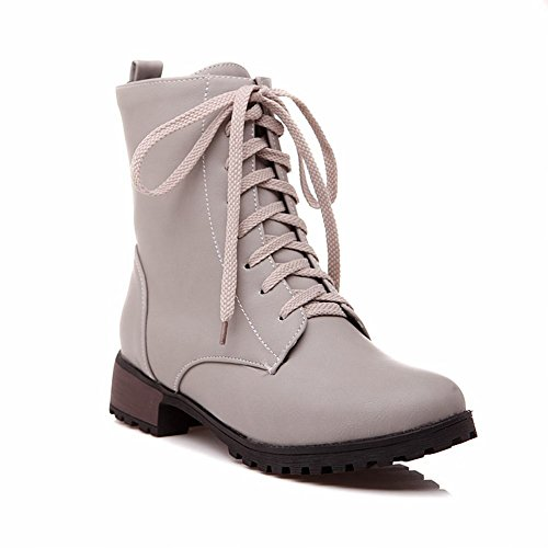 Boots Women's Leather Ankle Show Fashion Grey Lace high up heel Shine Low qCaC1v5wFt