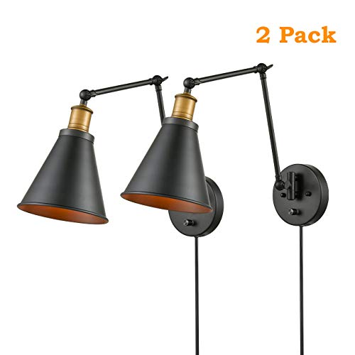 CLAXY Lighting Plug-in Industrial 2-Pack Swing Arm Wall Lamp Adjustable Wall Lighting