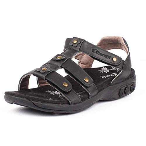 - Therafit Claire Women's Leather Gladiator Adjustable Sandal - for Plantar Fasciitis/Foot Pain Black