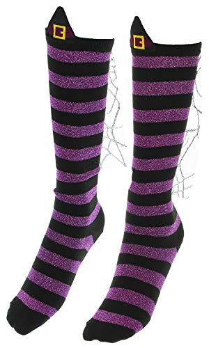Wicked Witch Socks Womens Knee High Striped Purple and Black Halloween