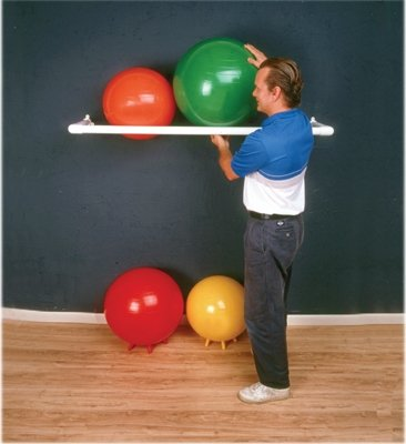 CanDo 30-1831 Inflatable Exercise Ball, Accessory, PVC Wall Rack, 1 Shelf, 64'' x 18'' x 2''