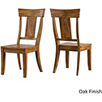 Eleanor Panel Back Wood Dining Chair Set of 2, Oak