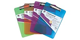 Charles Leonard Inc. Plastic Clipboard with Low Profile Clip, Letter Size, Transparent Neon, (Pack of 12) (3 Each Purple/Blue/Green/Orange) (89770)