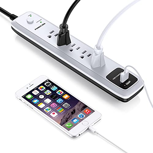 UPoweradd Power Strip USB, Surge Protector with 5 AC Outlets & 2 USB Charging Ports, 1250W 6ft Extension Cord, Wall Mountable Safety Cover for Home, Office, Dorm