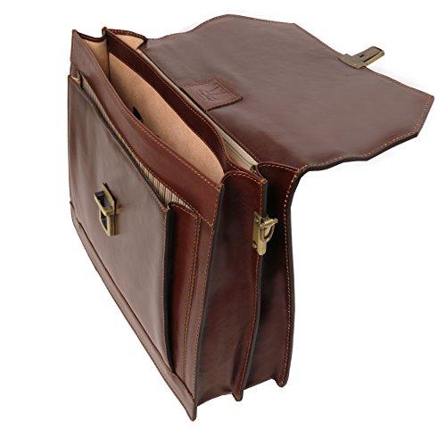 Tuscany Leather - NAPOLI - Porta folios en piel con 2 compartimentos y bolsillo frontal Marrón oscuro - TL141348/5 Miel