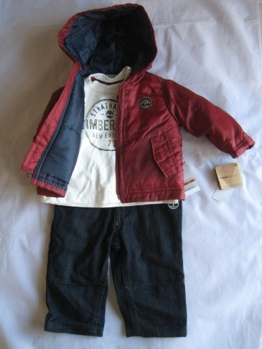 Timberland Infants Boy (24 Months) Puffer Jacket with Cap, T-shirt and Jean Set New