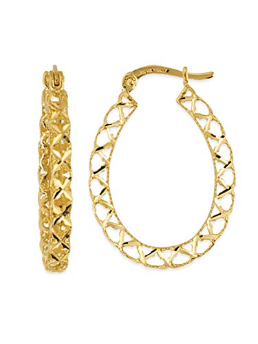 14k Yellow Gold Lattice Criss Cross Hollow Filigree Oval Hoop Earrings