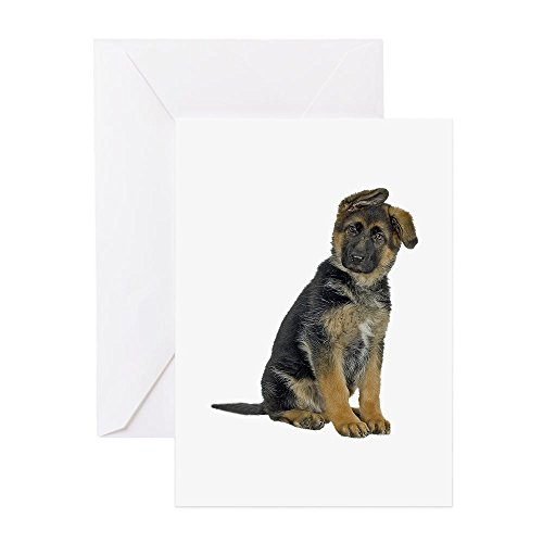 CafePress German Shepherd Puppy Greeting Card, Note Card, Birthday Card, Blank Inside Matte ()