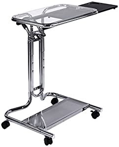 Calico Designs Laptop Cart with Mouse Tray in Chrome and Black Glass