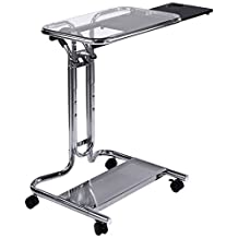 Studio Designs Calico Designs 51201 Laptop Cart with Mouse Tray in Chrome and Clear Glass