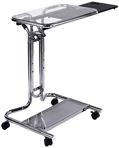 Calico Designs 51201 Laptop Cart with Mouse Tray in Chrome and Clear Glass ()