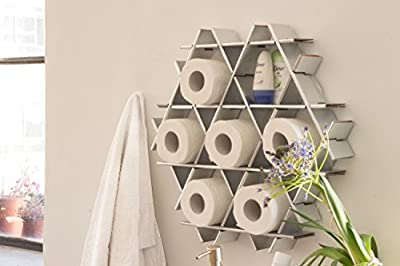 Ruche shelving unit and display stand for the bathroom - Size S- Recycled cardboard Chrome finish