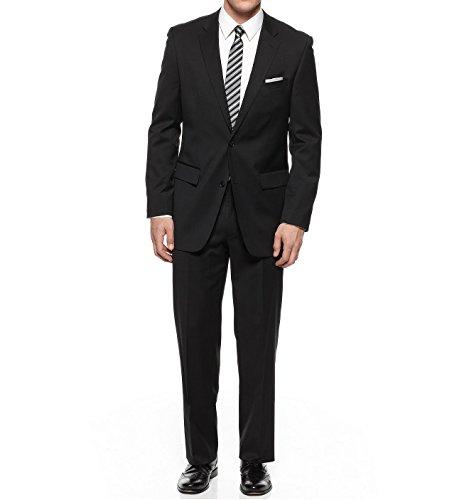 Discount Alfani Slim-Fit Black Solid Two Button Flat Front New Men's Suit Set for cheap