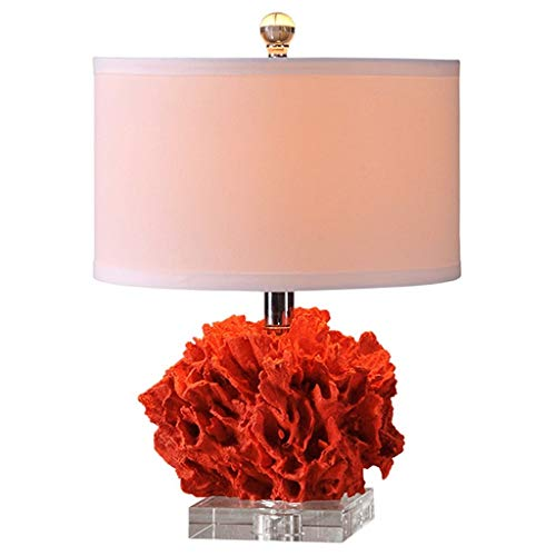 FMEZY Red Coral Wedding Room Decoration Table LampCrystalbasebedroombedside Light E27 Living Room Modern European Fashion Desk Lamp