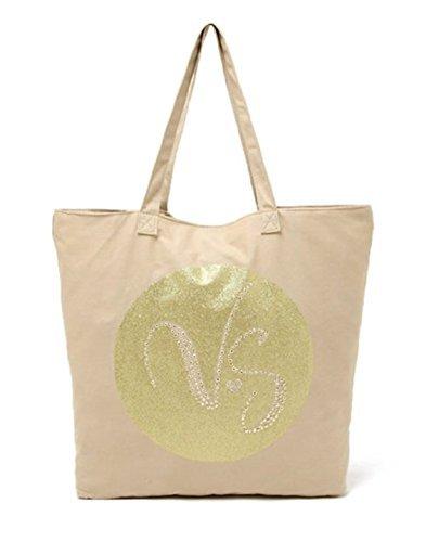Victoria's Secret VS Embellished Canvas & Gold Beach Bag Tote Purse