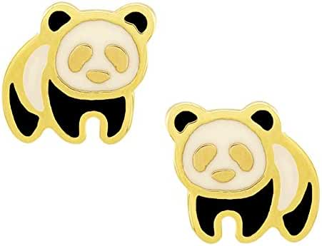 Leah And Kate Women's Mini Enamel Panda Charm Stud Earrings