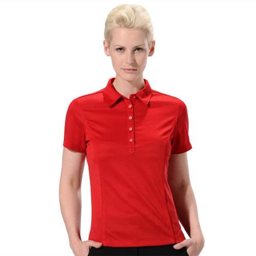 (Monterey Club Ladies' Dry Swing Collar Texture Stripe Tonal Shirt #2169 (Venetian Red,Medium))
