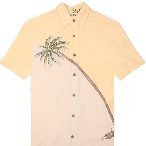 Bamboo Cay Men's Hurricane Palm, Embroidered Tropical Camp Shirt (XL, Banana) by Bamboo Cay (Image #1)