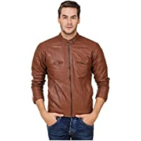 Brown Faux Leather Jacket for Man