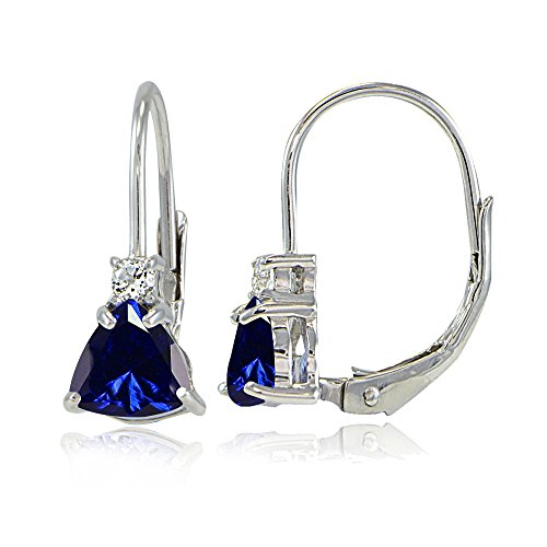 Sterling Silver Created Blue Sapphire & White Topaz Trillion-Cut Leverback Drop Earrings