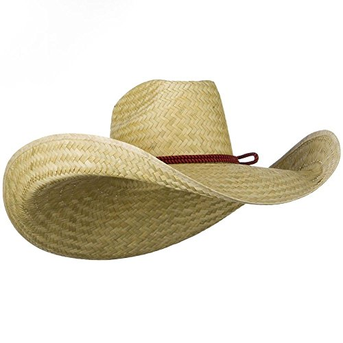 [Oversized Western 7 Inch Brim Hat - Natural OSFM] (Straw Safari Hat)