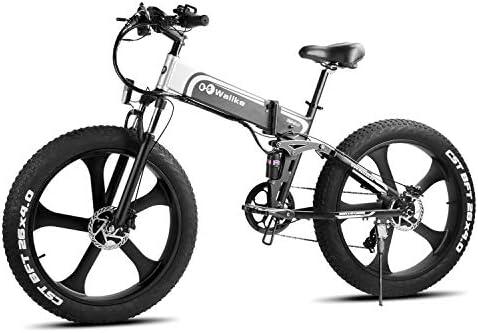 W Wallke Folding Aluminum Electric Bike 48V 10.4ah Removable Battery Fat Tire Snow Mountain Bike 750W Beach Cruiser Adult Assisted E-Bike Double Disc Hydraulic Brake