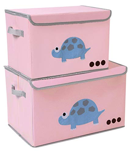(Toy Chest Kids Toy Cube Storage Box Large Decorative Storage Bin with Lid for Boys Girls Room (2 Pack,Pink-Tortoise))