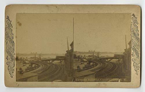 19th Century New York - Stereoview Photo - Elevated Railroad Coenties - Century Slip