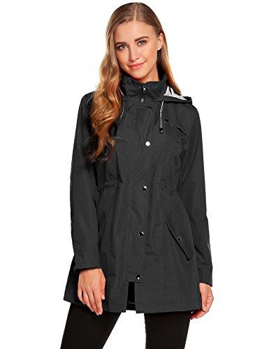 zhenwei Womens Lightweight Hooded Waterproof Active Outdoor Rain Jacket S-XXL (XXL, Black) Button Women Jackets