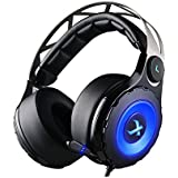XIBERIA T18 7.1 Cuffie Gaming Virtuale Da Gioco Audio Circondare Con Microfono Retrattile Su-Orecchie Per PC, PS4 (Nero)