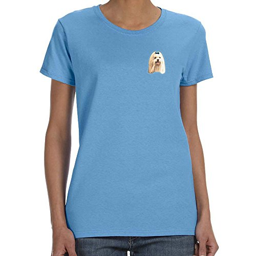 Cherrybrook Dog Breed Embroidered Womens T-Shirts - X-Large - Carolina Blue - Maltese