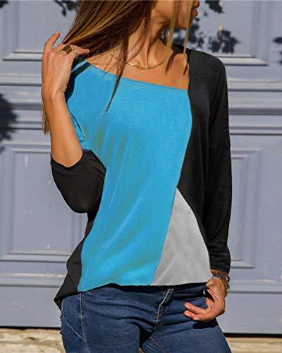 Camicetta Lunga shirt Bluse Shirts Donne T Blocco Camicia Autunno Blusa Di Maglietta Elegante Manica Nero Sciolto Casuale Colore Minetom Tops wtYUqSw