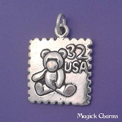 Sterling Silver Teddy Bear USA Postage Stamp Charm Pendant Bracelet Jewelry - Charm Crazy