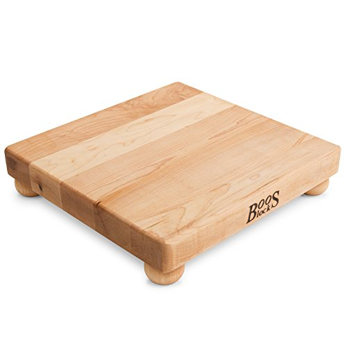 John Boos Block B12S Maple Wood Edge Grain Cutting Board with Feet, 12 Inches Square, 1.5 Inches Thick (John Boos Maple Cutting Board)