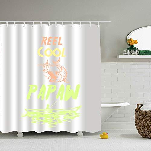 Nicholas Dunlop Reel Cool Papaw Fishing Birthday Print Bath Shower Curtain Fabric Bathroom with Hooks 65