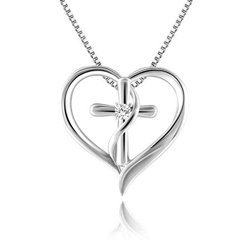 Angelady God in My Heart Faith Hope Love Cross Pendant Necklace Jewelry Valentine Birthday Gifts for Women,Crystals from Swarovski (Heart)