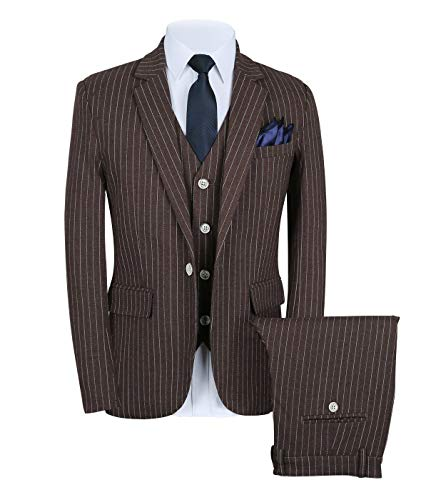 CALVINSUIT Men's Pinstripe 3 Pieces Suit Slim Fit Stripe Notch Lapel Jacket Tuxedo Brown ()