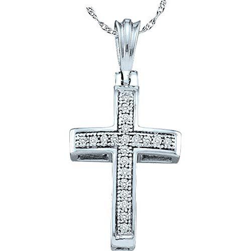 The Diamond Deal 10kt White Gold Womens Round Diamond Cross Religious Pendant 1/12 Cttw