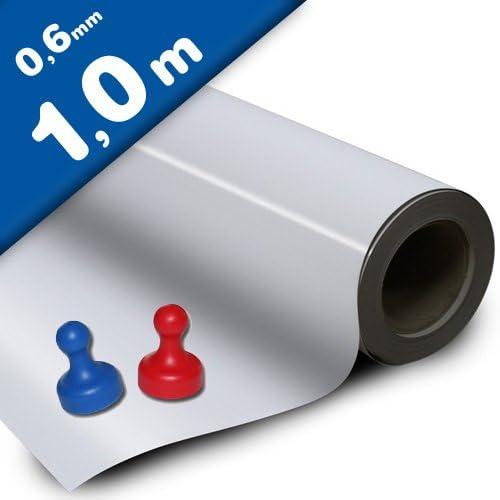 Eisenfolie Ferrofolie selbstklebend weiß matt 0,6mm x 100cm x 100cm