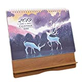 Wooden Frame Monthly Calendar Academic Desk Calendar 2019 Desktop Scheduler-A09