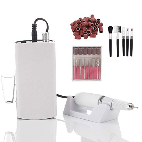Miss Sweet Portable Nail Drill Machine Rechargeable Electric Nail File for Acrylic Nail RPM30000 (White)