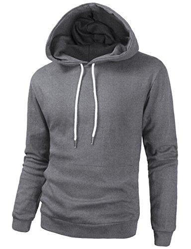 Mens Long Sleeve Pullover Hooded Sweatshirt Slim Fit Lightweight Hoodie Heather Dark Grey 2XL