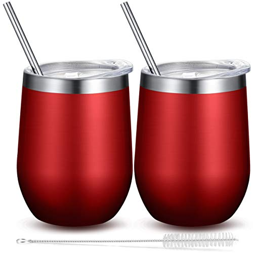 Fungun 12 oz Stemless Wine Tumbler, Stainless Steel Wine Glass, Insulated Tumbler with Lids for Wine, Coffee, Drinks, Cocktails, 2 Sets Including 2 Pieces Straws and Brush (Red)