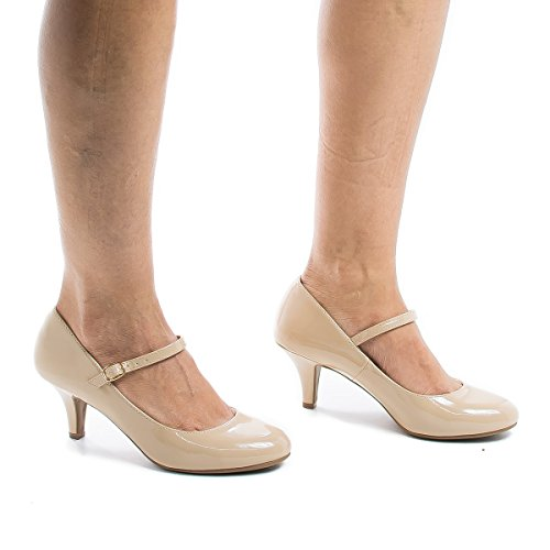 High Heel Comfort Dk City Kirk Patent Beige Women's Mary Jane Classified gwR6T6Yxqf
