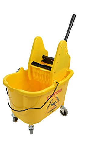 Janico 1012 Mop Bucket Down Press Wringer Combo, 35 Quart 8.5 Gallon, Yellow, 2 Inch Non Marking Metal Casters ()